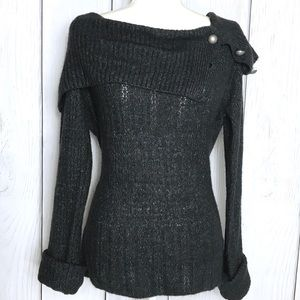 Nine West Charcoal Gray SOFT Shoulder Sweater